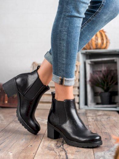 W. POTOCKI Komfortní dámské  kotníčkové boty černé na širokém podpatku velikost 36