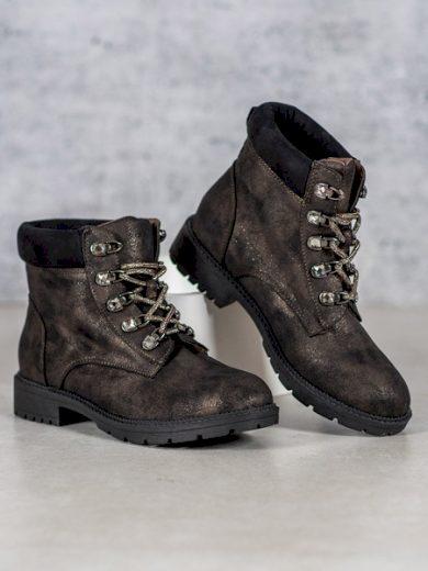 VICES Praktické hnědé  kotníčkové boty dámské na plochém podpatku velikost 36