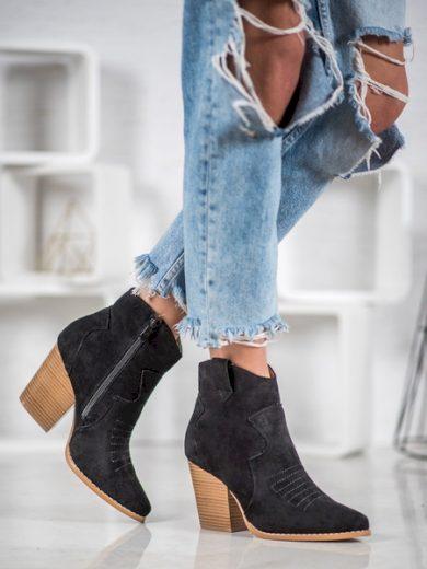 BELLA PARIS Praktické  kotníčkové boty černé dámské na širokém podpatku velikost 39
