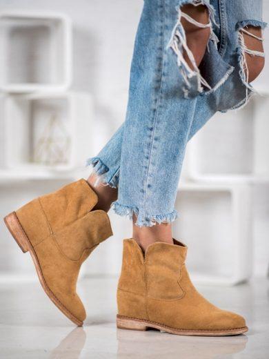 BELLA PARIS Praktické hnědé dámské  kotníčkové boty na klínku velikost 38