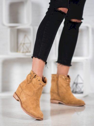 BELLA PARIS Klasické  kotníčkové boty hnědé dámské na klínku velikost 36