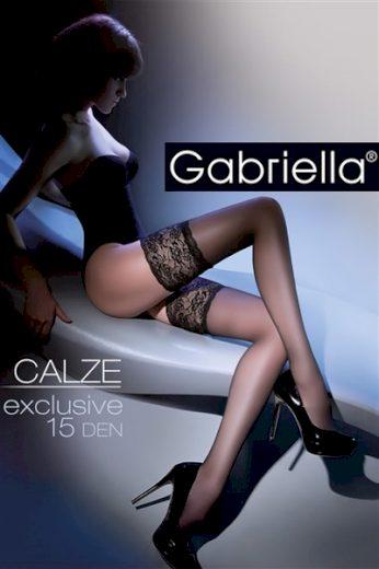 GABRIELLA Samodržící punčochy Calze Exclusive 15 DEN Code 201 black barva černá, velikost XS/S