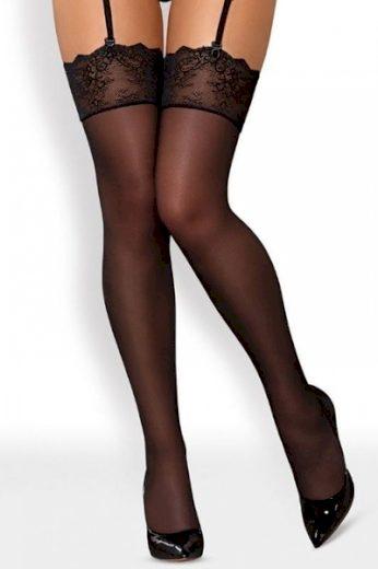 OBSESSIVE Dámské punčochy Merossa stockings  barva černá, velikost L/XL