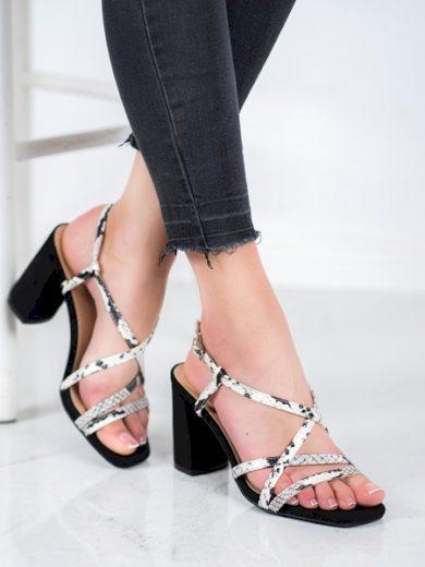 KYLIE Trendy  sandály černé dámské na širokém podpatku velikost 35