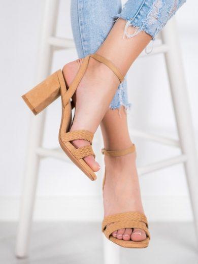 KYLIE Luxusní dámské  sandály hnědé na širokém podpatku velikost 35