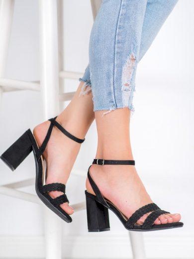 KYLIE Módní dámské černé  sandály na širokém podpatku velikost 35