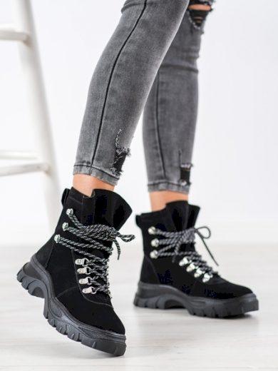 producent niezdefiniowany Originální dámské černé  kotníčkové boty bez podpatku velikost 36