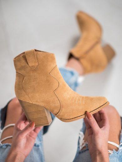 BELLA PARIS Stylové dámské hnědé  kotníčkové boty na širokém podpatku velikost 39