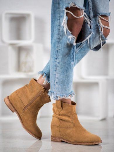 BELLA PARIS Praktické dámské  kotníčkové boty hnědé na klínku velikost 40
