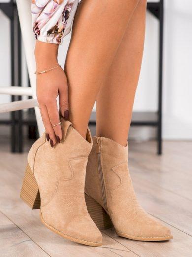 BELLA PARIS Pěkné hnědé dámské  kotníčkové boty na širokém podpatku velikost 39