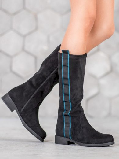 SDS Trendy  kozačky černé dámské na plochém podpatku velikost 36