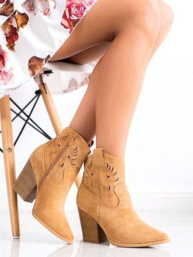 BELLA PARIS Stylové hnědé  kotníčkové boty dámské na širokém podpatku velikost 40