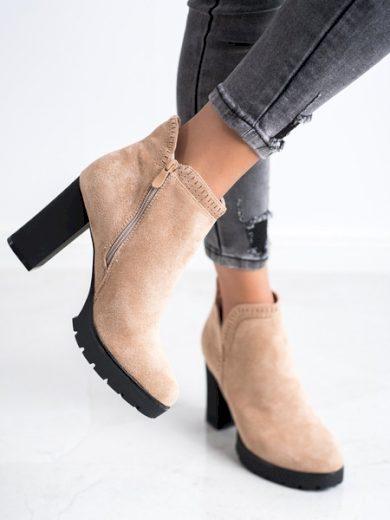 BELLA PARIS Trendy hnědé  kotníčkové boty dámské na širokém podpatku velikost 40