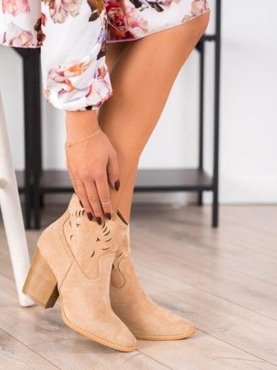 BELLA PARIS Moderní  kotníčkové boty hnědé dámské na širokém podpatku velikost 40