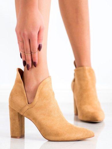 BELLA PARIS Pěkné dámské hnědé  kotníčkové boty na širokém podpatku velikost 36