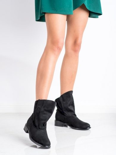 GOGO Praktické  kotníčkové boty dámské černé na plochém podpatku velikost 36