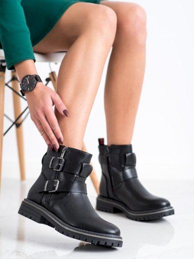 J. STAR Exkluzívní  kotníčkové boty dámské černé na plochém podpatku velikost 36