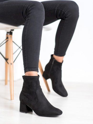 CM PARIS Pěkné dámské černé  kotníčkové boty na širokém podpatku velikost 36
