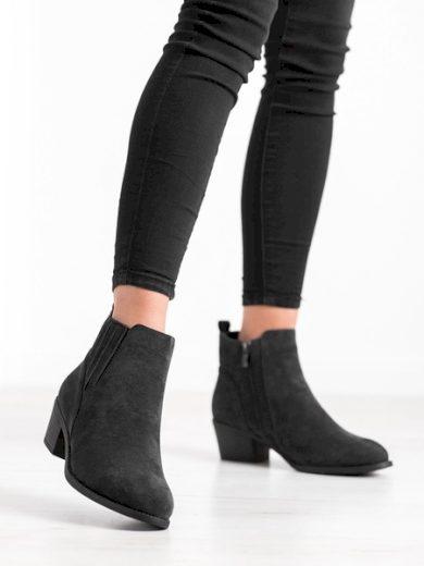 CAMO Designové  kotníčkové boty černé dámské na širokém podpatku velikost 36
