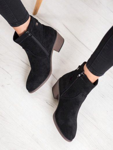 CAMO Výborné černé dámské  kotníčkové boty na širokém podpatku velikost 38