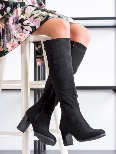 BALADA Klasické  kozačky dámské černé na širokém podpatku velikost 36