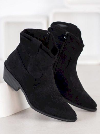 CM PARIS Pěkné dámské  kotníčkové boty černé na širokém podpatku velikost 36