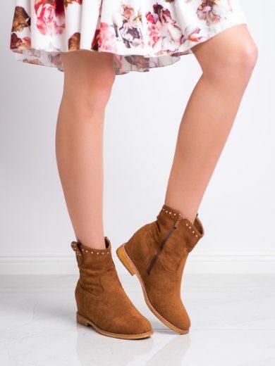 SUPER MODE Pěkné  kotníčkové boty dámské hnědé na klínku velikost 36