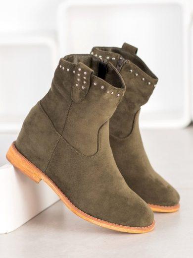SUPER MODE Praktické zelené dámské  kotníčkové boty na klínku velikost 36