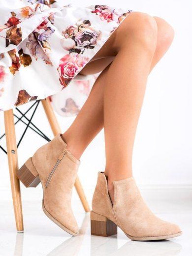 BELLA PARIS Praktické dámské hnědé  kotníčkové boty na širokém podpatku velikost 38