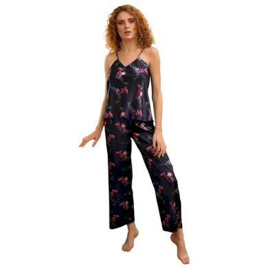 DKAREN Dámské saténové pyžamo FLOWERS KI 009  barva viz.foto, velikost S