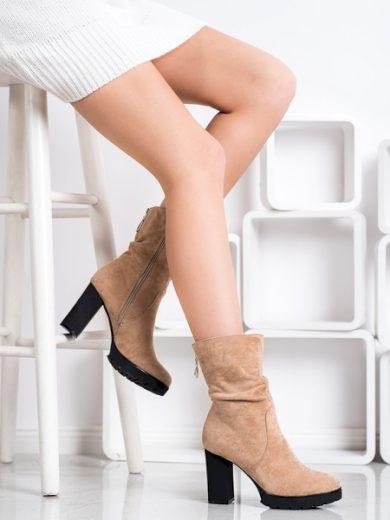 BELLA PARIS Pohodlné  kotníčkové boty hnědé dámské na širokém podpatku velikost 39