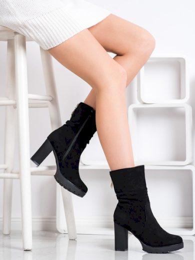 BELLA PARIS Trendy  kotníčkové boty černé dámské na širokém podpatku velikost 40