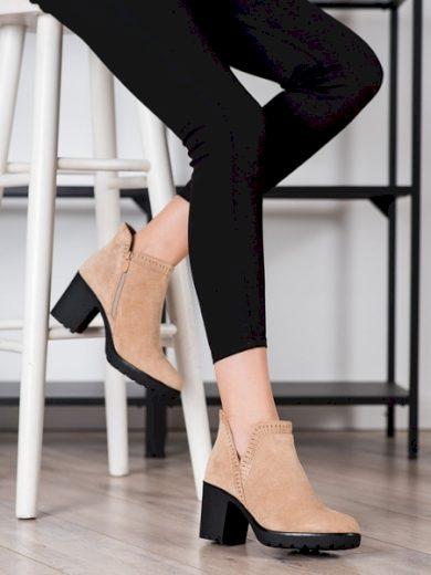 BELLA PARIS Módní hnědé  kotníčkové boty dámské na širokém podpatku velikost 39