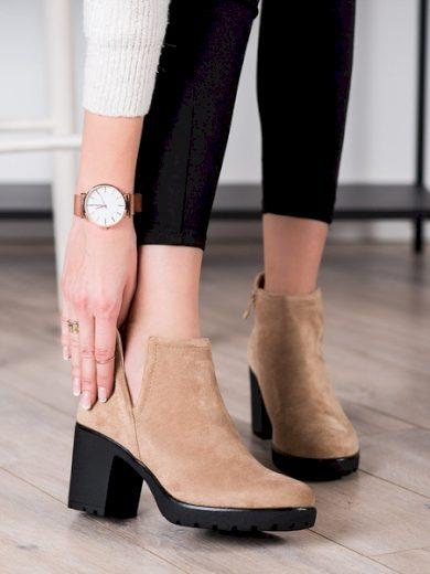 BELLA PARIS Jedinečné  kotníčkové boty dámské hnědé na širokém podpatku velikost 40