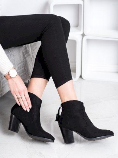SUPER MODE Moderní černé  kotníčkové boty dámské na širokém podpatku velikost 36