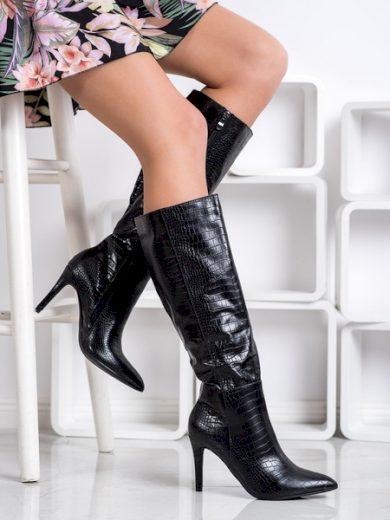 COMER Stylové  kozačky černé dámské na jehlovém podpatku velikost 39