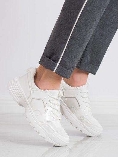 KYLIE Zajímavé bílé  tenisky dámské bez podpatku velikost 36
