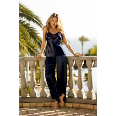 DKAREN Dámské saténové pyžamo CAROLINE tmavě modrá barva modrá, velikost S