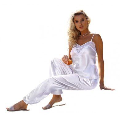 DKAREN Dámské saténové pyžamo CAROLINE bílá barva bílá, velikost S