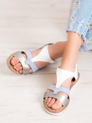 KYLIE Stylové dámské  sandály šedo-stříbrné bez podpatku velikost 36