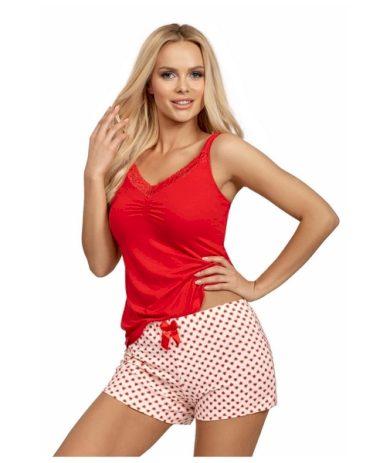 DONNA Dámské pyžamo ESTER červená barva  červená, velikost S