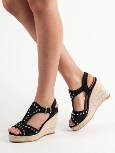 KYLIE Praktické dámské černé  sandály na klínku velikost 36