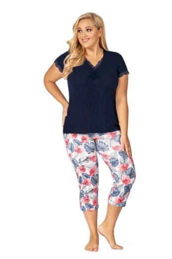 DONNA Dámské pyžamo MILA PLUS 3/4 dark blue barva  modrá, velikost 3XL