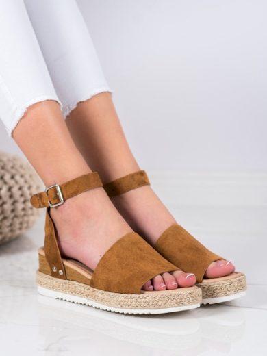 KYLIE Klasické dámské hnědé  sandály na klínku velikost 37