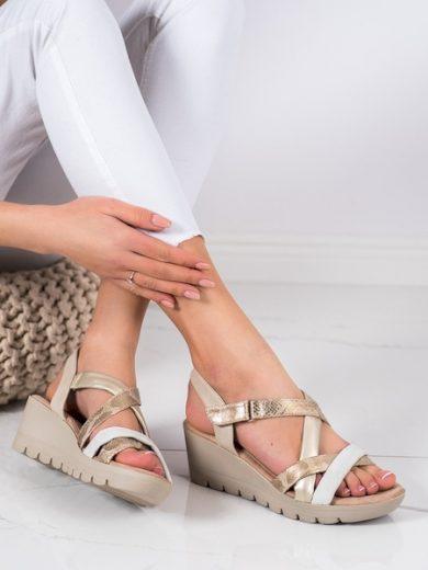 KYLIE Stylové  sandály dámské hnědé na klínku velikost 37