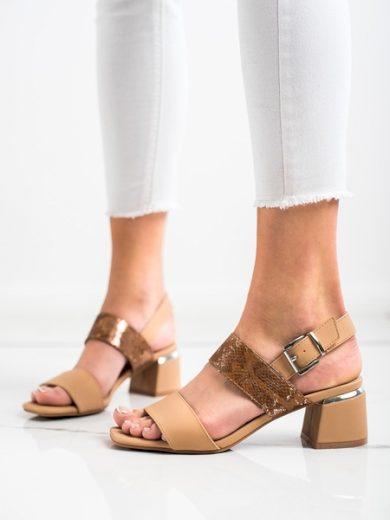 KYLIE Zajímavé dámské  sandály hnědé na širokém podpatku velikost 38