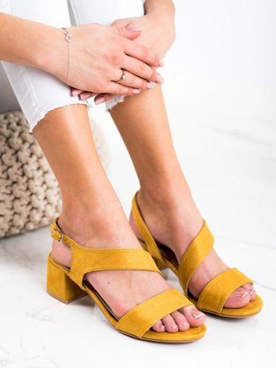 KYLIE Originální dámské zlaté  sandály na širokém podpatku velikost 37