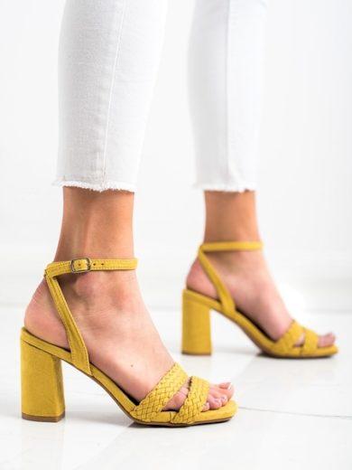 KYLIE Jedinečné zlaté dámské  sandály na širokém podpatku velikost 35