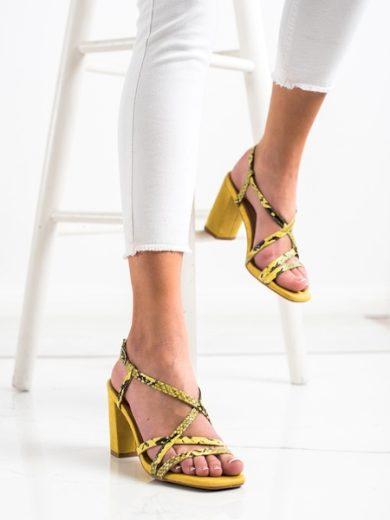 KYLIE Krásné dámské  sandály zlaté na širokém podpatku velikost 35