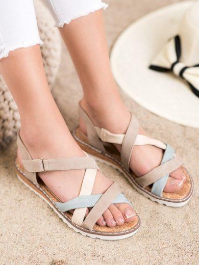 KYLIE Výborné dámské  sandály hnědé bez podpatku velikost 36